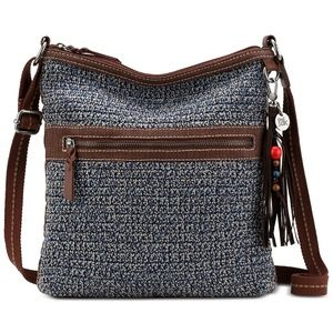 Handbags - The Sak Crocheted Crossbody Bag with Leather Strap